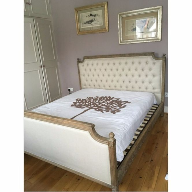 Feather Black Solid Weathered Oak Super King Size Bed With Deep Upholstered Headboard