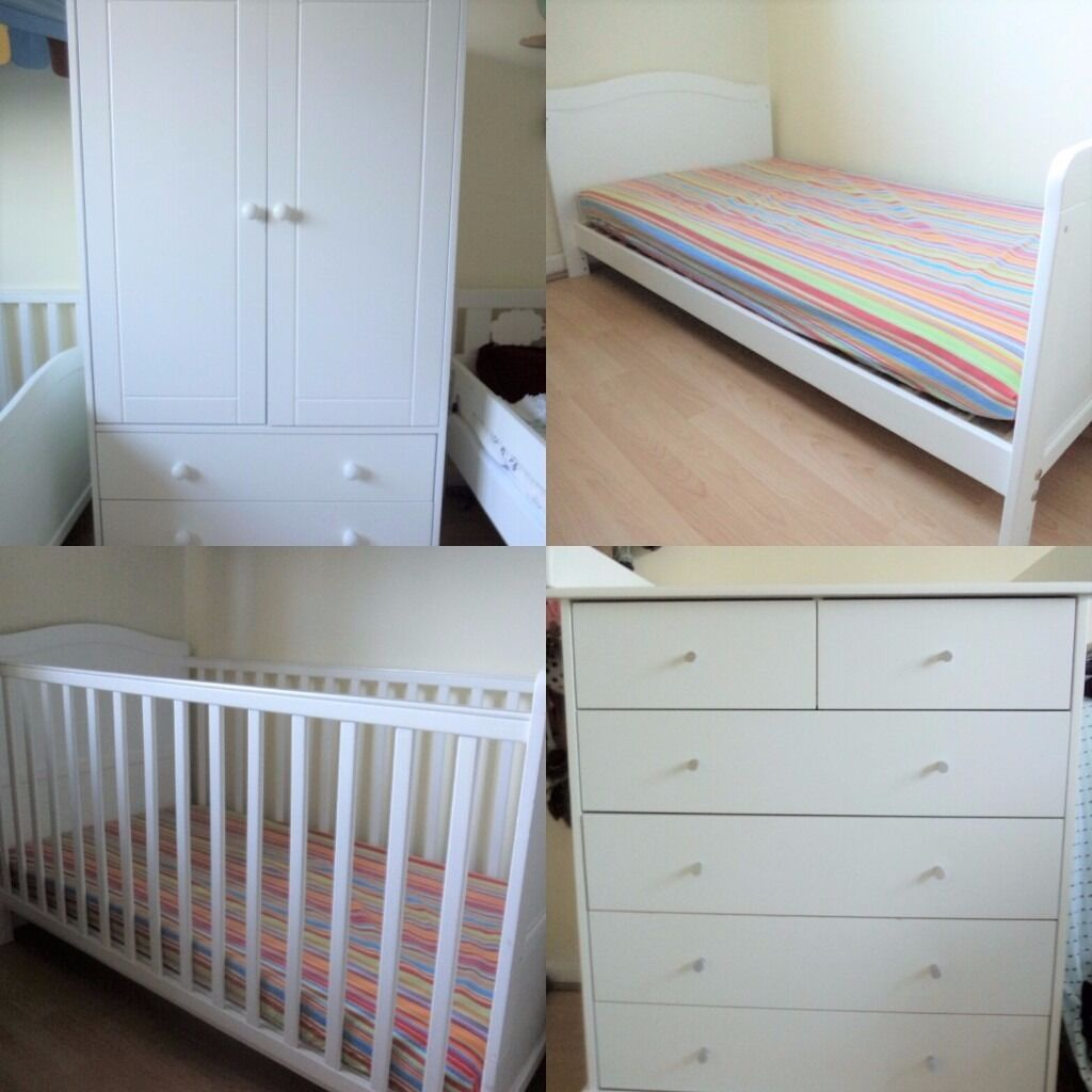baby bedroom set white cot toddler bed wardrobe chest of on Cot Bed And Chest Of Drawers Set id=37499