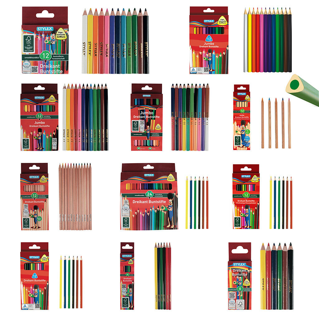 Buntstifte in 6er, 10er, 12er oder 24er Set, Dreikantbuntstifte Jumbo Farbstifte