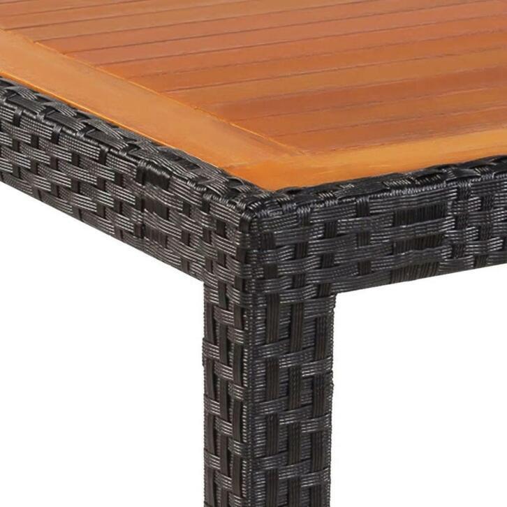 vidaxl table de jardin rotin dessus de table bois d acacia 1