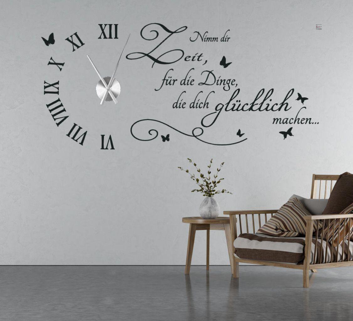Wanduhr Wandtattoo Uhr Wohnzimmer Wandsticker Wandaufkleber Spruch Uhrwerk TKU5