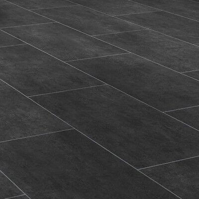 PVC Bodenbelag Tarkett 260 Melbourne Noir Fliese schwarz alle Breiten 11,90€/m²