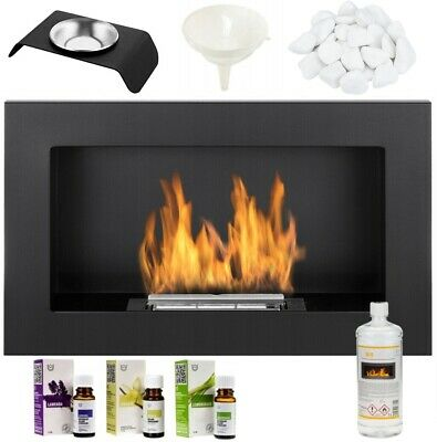 BIO ETHANOL FIREPLACE 650x400 WALL MOUNTED DESIGN ECO FIRE BURNER + ACCESSORIES