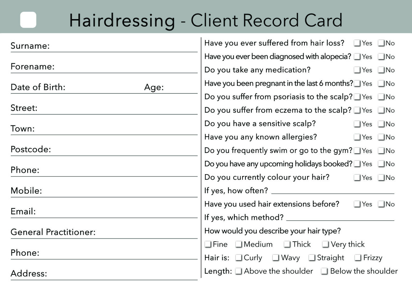 Hairdresser Client Card Client Record Card