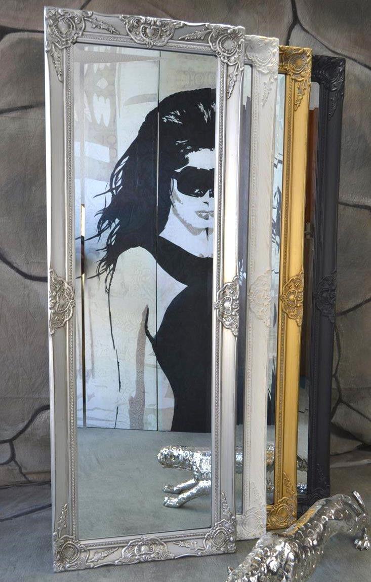 Garderobenspiegel Ganzkörperspiegel barock antik mit Facettenschliff 140 x 50 cm