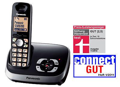 Panasonic KX-TG6521GB schwarz DECT Telefon mit Anrufbeantworter BRANDNEU