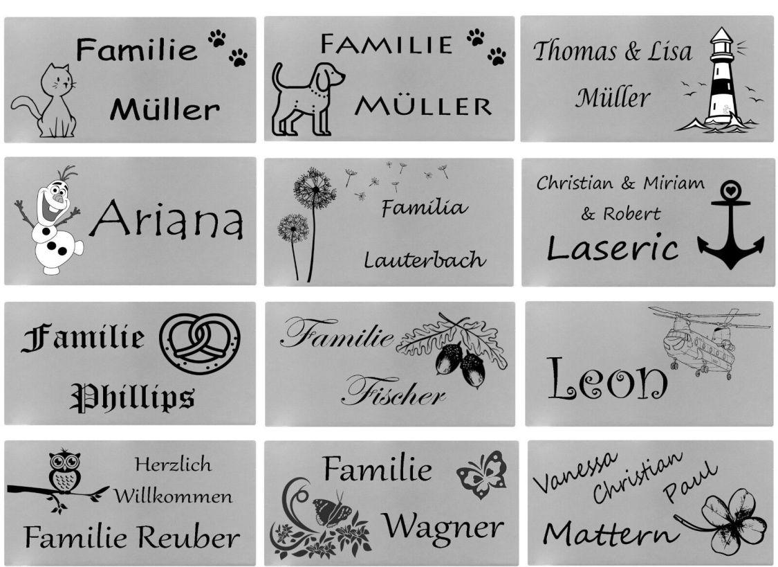 ID Türschild mit Bildern und Gravur nach Wunsch Namensschild Edelstahl 3 Größen