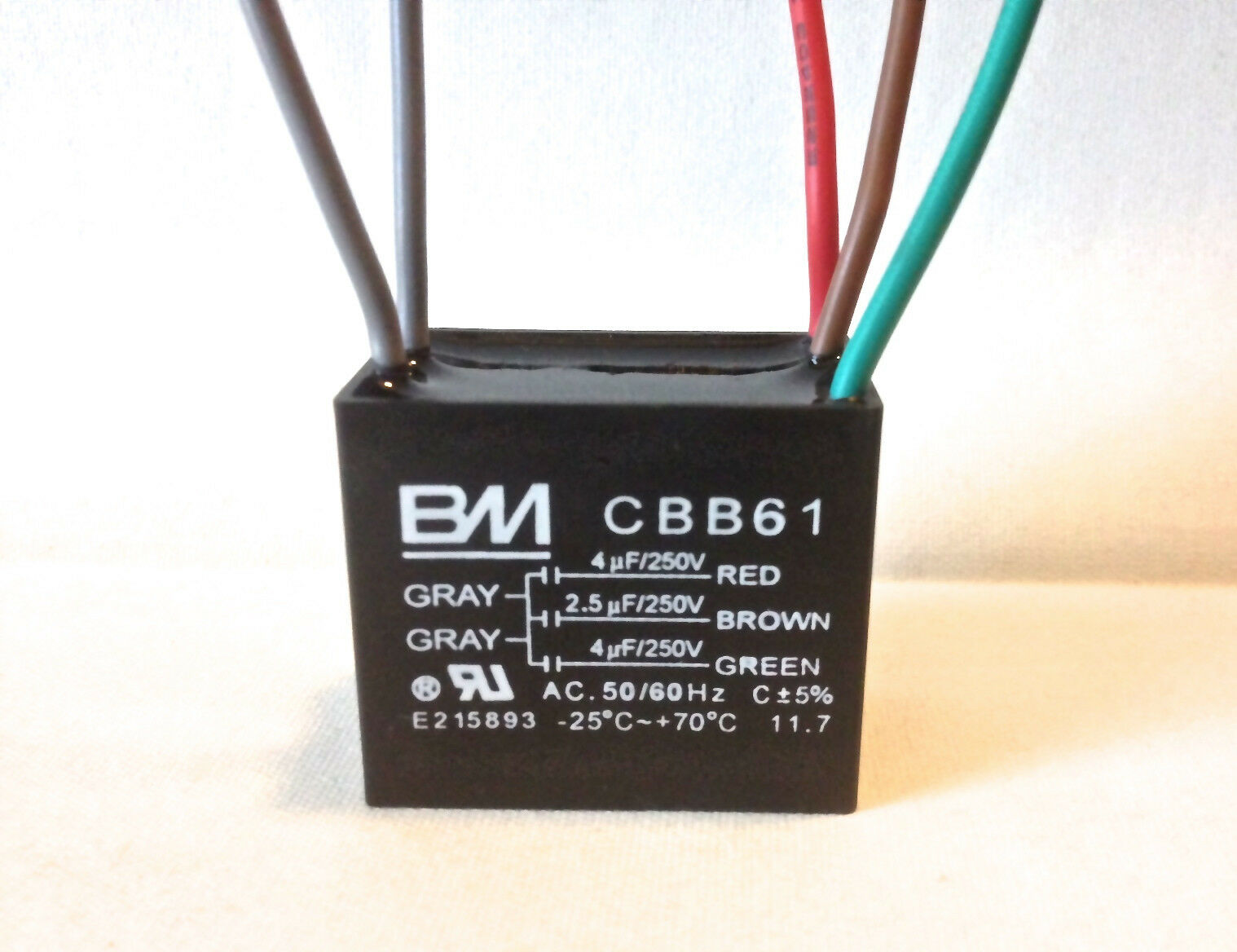 CEILING FAN CAPACITOR CBB61 4uf25uf4uf 5 WIRE UL listed