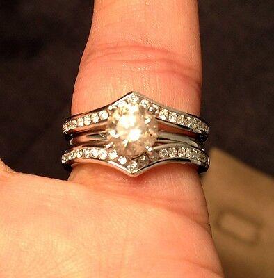 Round Diamonds Ring Guard Wrap 14k White Gold Wedding Band
