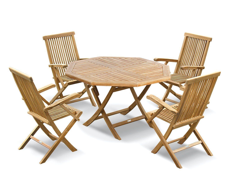 Lymington Teak Outdoor Patio Set Folding Garden Table 1 2m 4 Dining Chairs Ebay