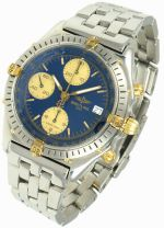 Nice Breitling Chronomat 18k & Stainless Steel Chronograph Watch with Box B13048