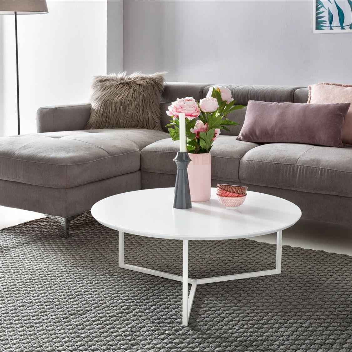 Couchtisch WHITE 80cm Rund Weiß Matt Design Wohnzimmertisch Sofa Beistell Tisch