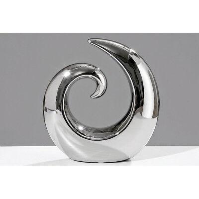 Keramik Skulptur Deko-Objekt Swing silber 20cm Wave Figuren