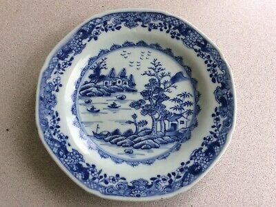 Old Chinese export blue and white sandwich plate an early dis