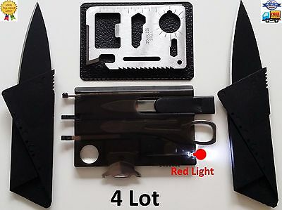 Credit Card Knives 11 in 1 multi tool Swiss style survival pocket thin RED LIGHT