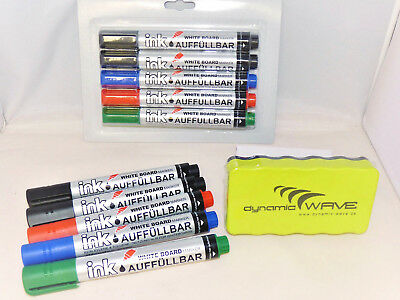 10 Stück Whiteboard Marker Stifte Set mit magnetischer Whiteboard Schwamm Neu