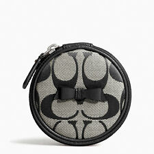 COACH SIGNATURE STRIPE BOW JEWELRY POUCH
