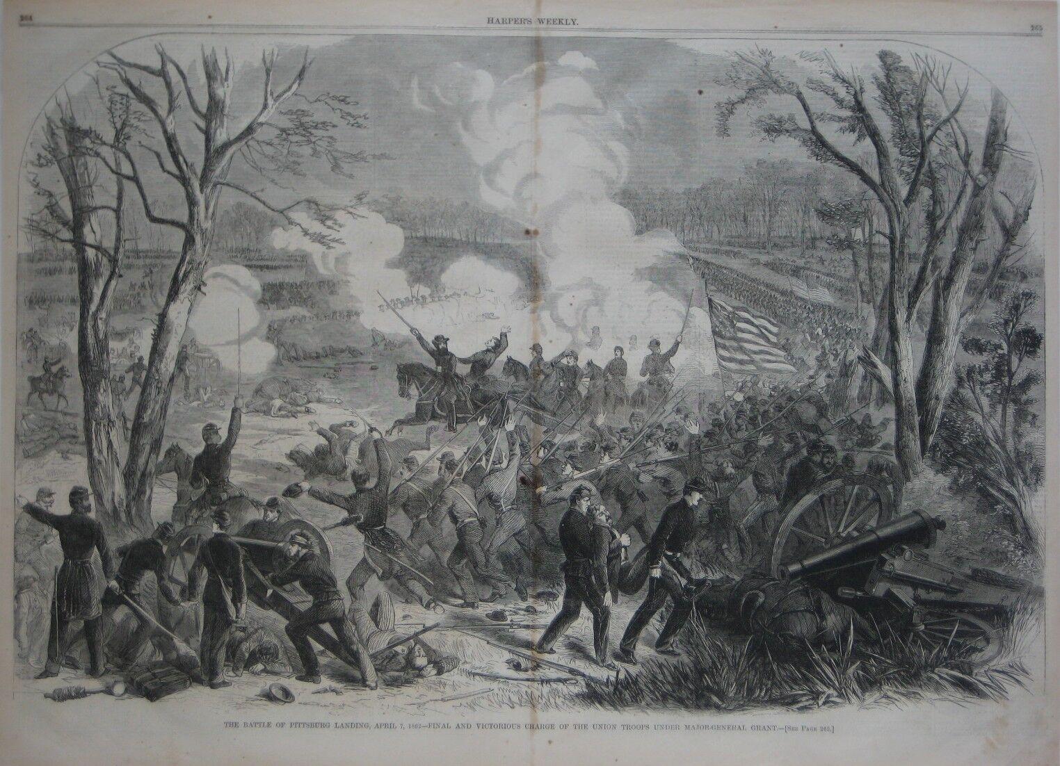 Original Civil War Battle Engraving Pittsburg Landing