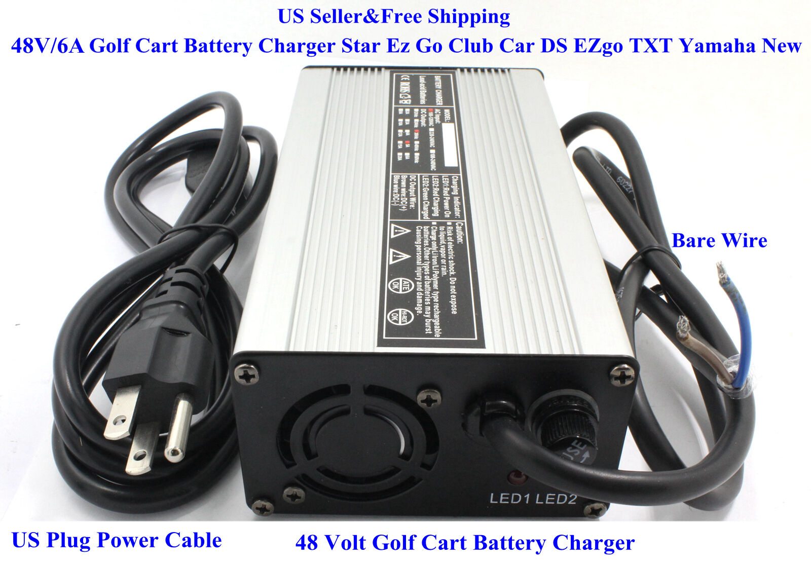 New 48 Volt Golf Cart Battery Charger 6A Star Ez Go Club