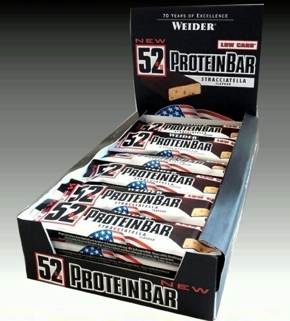 (26,16€/kg) Weider 52% Protein Bar 24x50g Riegel 5Sorten AUCH MISCHBAR!portofrei