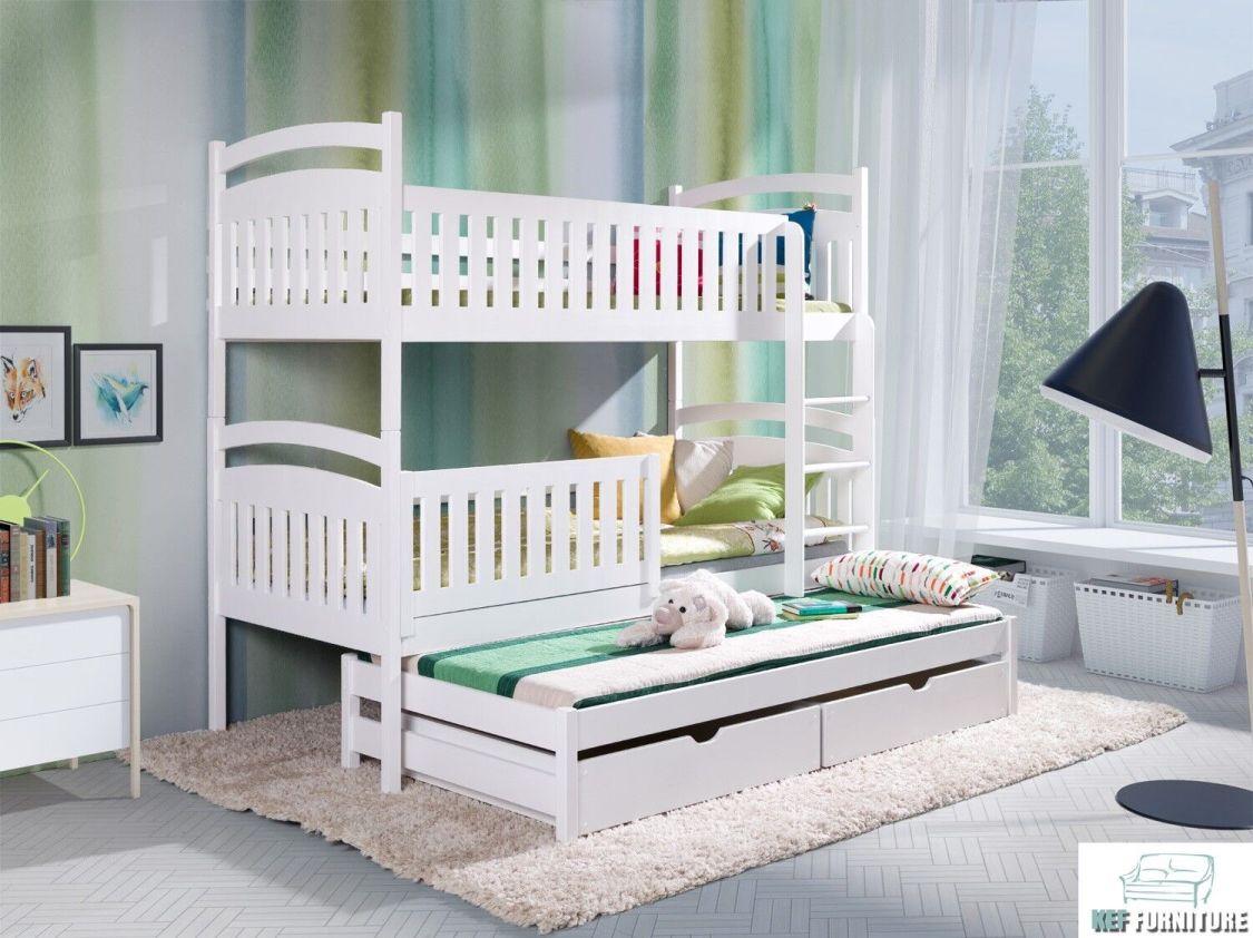 Etagenbett Kinderbett Bett Hochbett Stockbett Doppelbett mit Matratze ÖKO Weiss