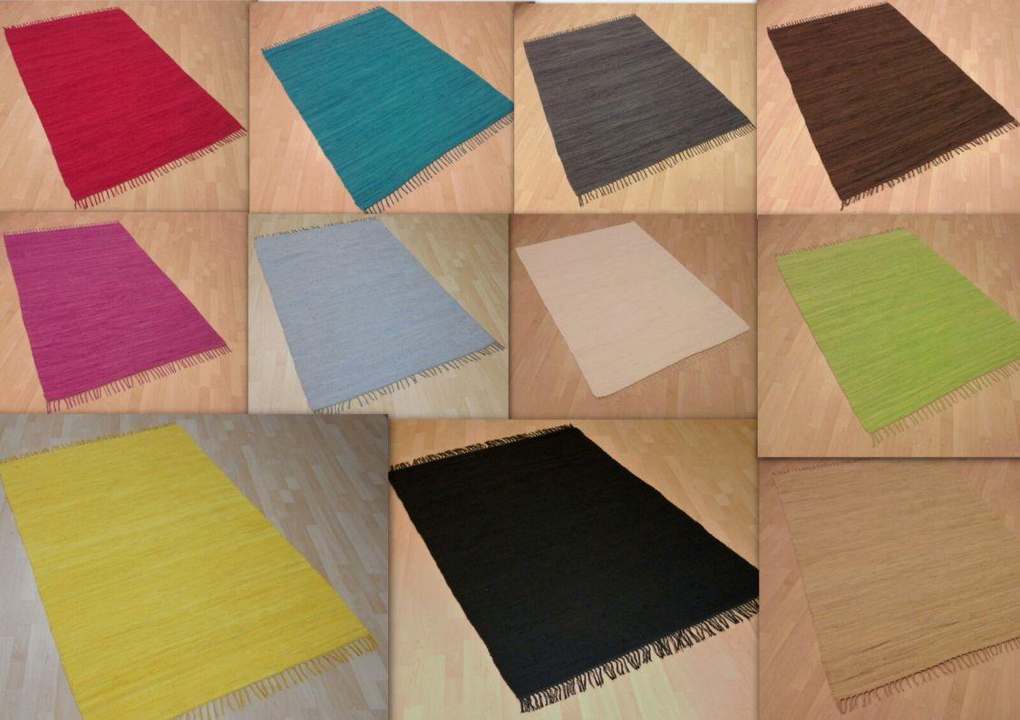 Handwebteppich UNI in 11 Farben 100% Baumwolle Handweb Teppich Fleckerl Waschbar