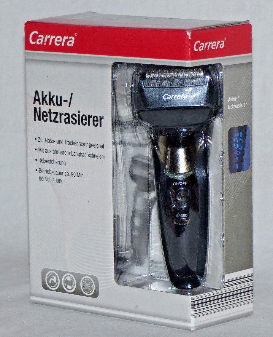 Carrera Akku-/ Netzrasierer zur Nass- & Trockenrasur 3-fach Schersystem schwarz