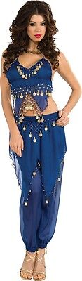 Womens Sexy Belly Dancer Costume Fancy Dress Dark Blue Gold Coins Egyptian Adult