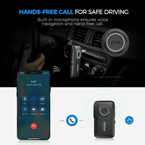 Mpow 3.5mm Bluetooth 5.0 AUX Audio Car Receiver Adapter w/Mic Home Stereo Music 5