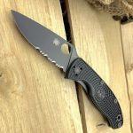 Spyderco C122PSBBK Tenacious Lightweight Black Blade Plain/Serrated FRN Knife