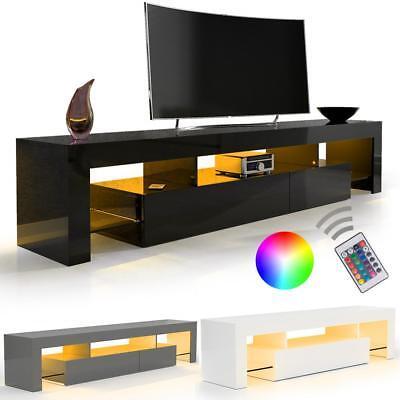 SANZARO TV Lowboard Schrank Fernsehtisch HiFi Hochglanz LED Beleuchtung Farbwahl