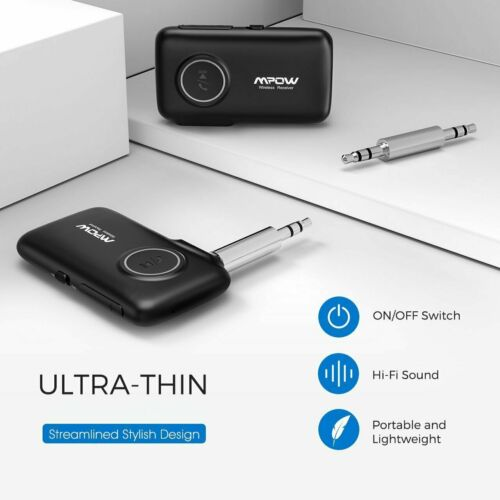 Mpow 3.5mm Bluetooth 5.0 AUX Audio Car Receiver Adapter w/Mic Home Stereo Music 6