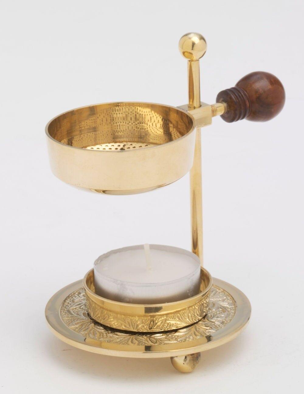 Weihrauchbrenner ca.11cm Messing glänzend - für Weihrauch und Kräuter