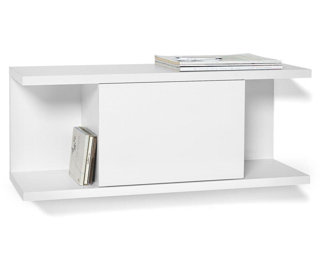 Wandregal Hängeregal Bücherregal Weiß mit Klappe (77583)