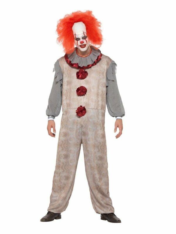 Mens Psycho Clown Costume Vintage Look Killer Full Jumpsuit Halloween Adult L