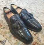 MENS VINTAGE CUSTOM FLORSHEIM BLACK TASSEL  LOAFER SHOES, SZ. 11.5, 12 M