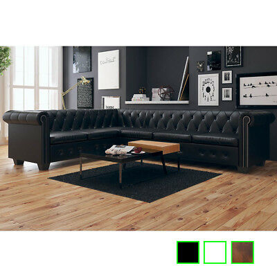 vidaXL Chesterfield Ecksofa Eckcouch Loungesofa Couch Sofa 6-Sitzer Kunstleder