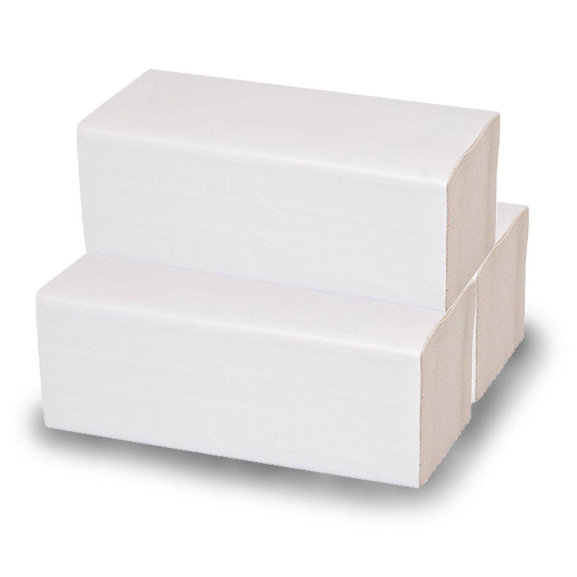 Papierhandtücher 2-lagig [160 - 3.200 Blatt] Falthandtücher 25x23cm weiß ZZ-Falz