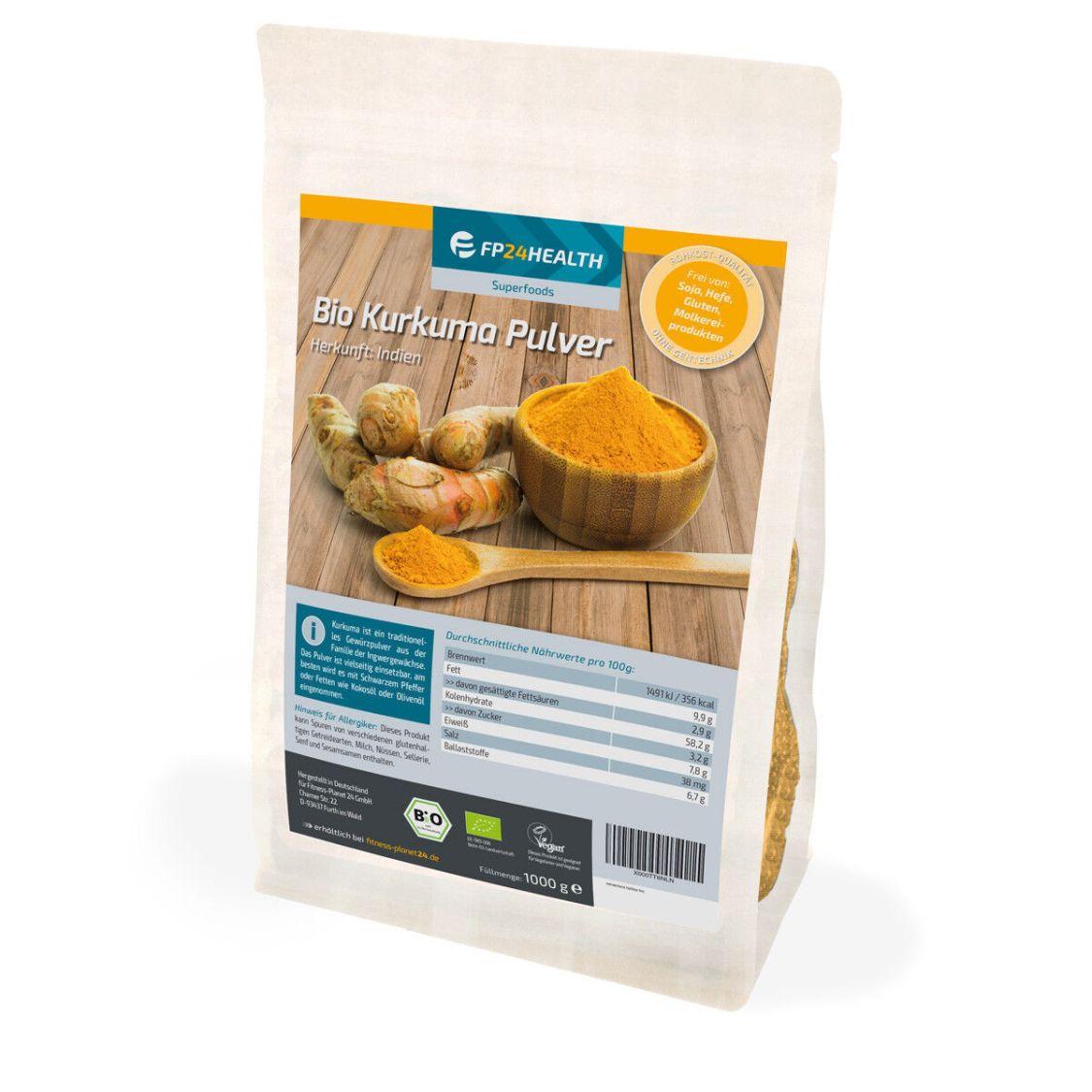 FP24 Health BIO Kurkuma-Pulver 1kg - Zippbeutel-Curcuma gemahlen - Top Qualität