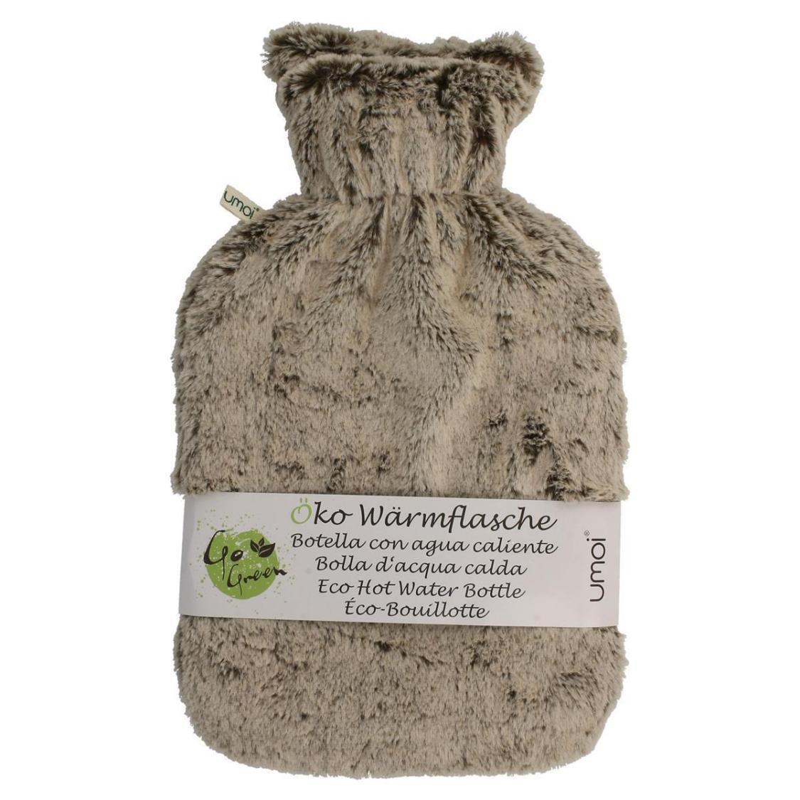 Öko Wärmflasche 2 Liter mit kuschligem Fleece Bezug beige Wärmeflasche Überbezug