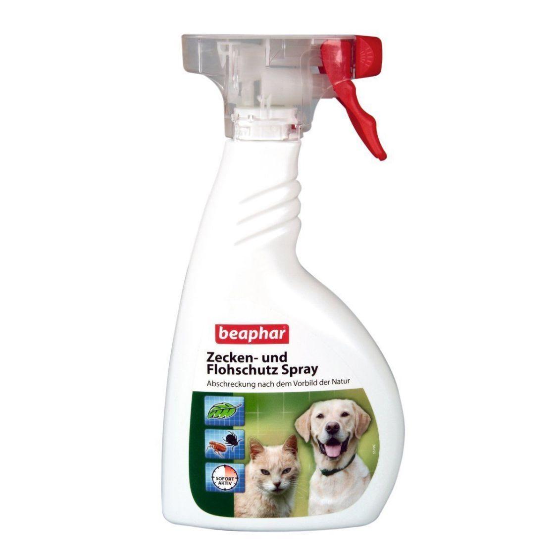 Beaphar Zecken-und Flohschutz Spray 400ml Flöhe Grasmilben Hunde Katze Flohspray