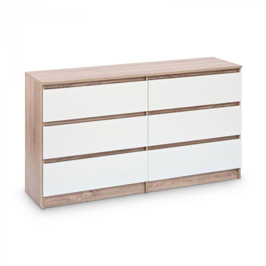 Kommode mit 6 Schubladen 140cm Sideboard, Anrichte Eiche Sonoma Weiß