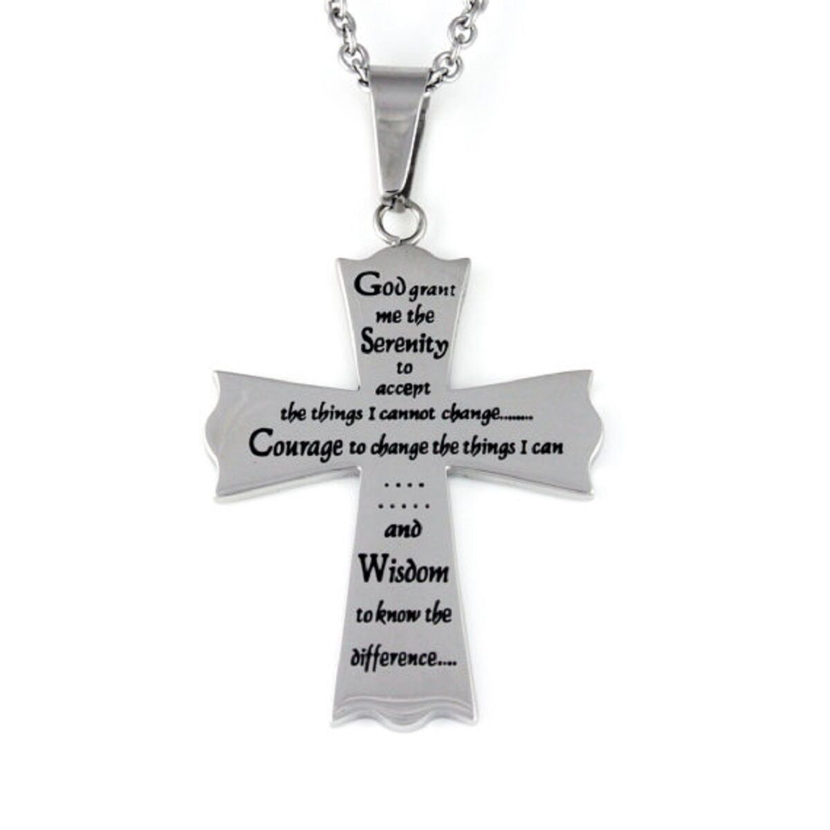 Serenity Prayer Cross Necklace Stainless Steel 18 Silver