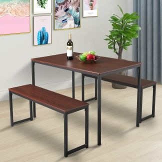 3 Piece Metal Dining Table Set Bench Chairs Wood Top Kitchen Furniture Breakfast