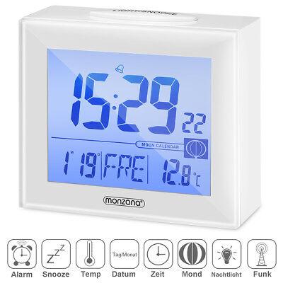Funkwecker digital mit Kalender Thermometer Snooze Alarm Reise Funk Wecker