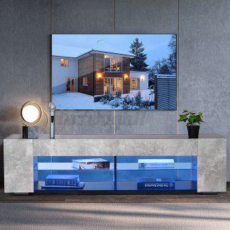 57'' Modern TV Stand Cabinet w/LED Shelves Entertainment Center for max 65'' TV
