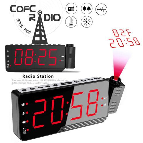 Radiowecker Uhrenradio mit Projektion, 3 Weckzeiten Display dimmbar Sleep/Snooze