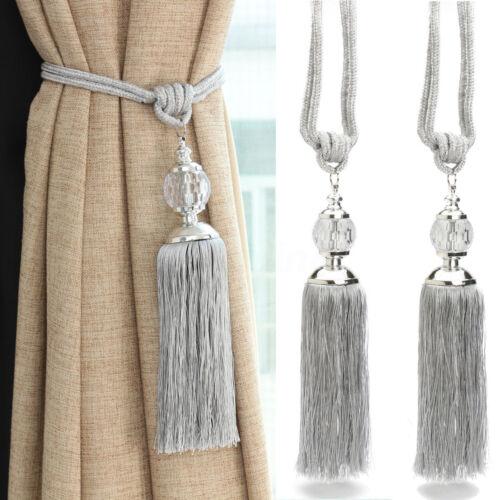 2 Stück Kristall Quaste Perlen Raffhalter Fenster Vorhang Fringe Tie Backs Dekor