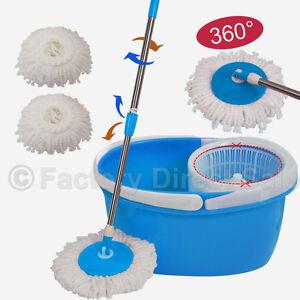 360° Rotating Head Easy Magic Floor Mop Bucket 2 Head Microfiber Spinning Blue