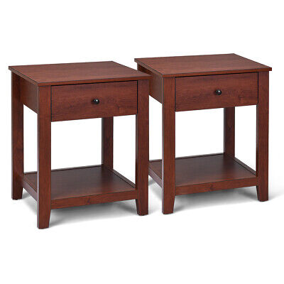 2-Set Nightstand Sofa Side Table Display Stand Multipurpose Bedside w/ Drawer 4